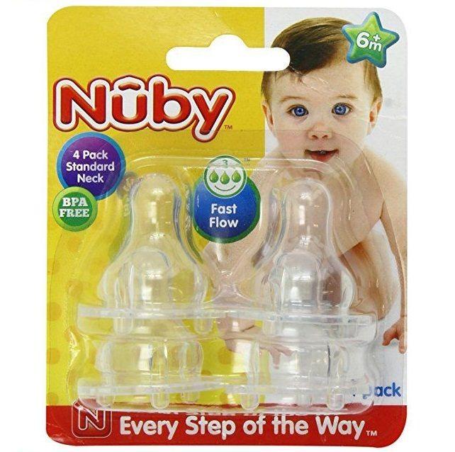 Nuby 4Pk Formula Clear Silicone Fast Flow Nipples 6M+