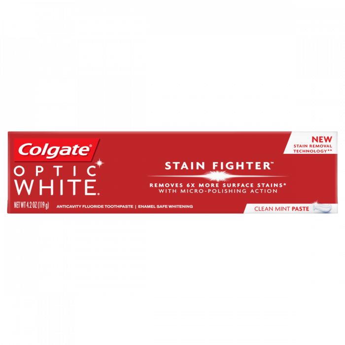 Colgate Optic White Stain Fighter Clean Mint Paste (4.2 Oz)