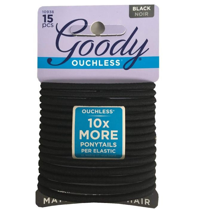 Goody Ouchless Braided Elastics Black (15 Ct)