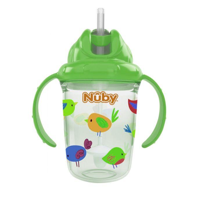 Nuby 8 Oz 2 Handle Tritan Straw Cup Green (Birds)