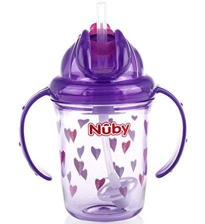 Nuby 8 Oz 2 Handle Tritan Straw Cup Purple (Hearts)