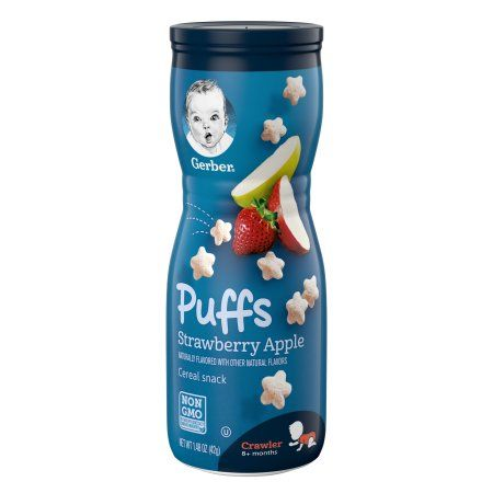 Gerber Puffs Straw/Apple Cereal Snack (6 X 1.48 Oz)