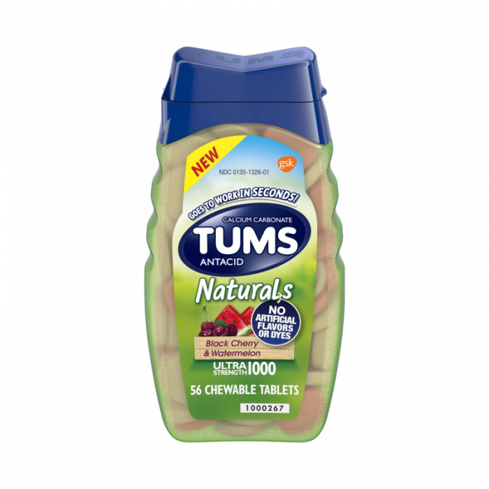 Tums Natural Black Cherry & Watermelon Chewable Tablets (56 Ct)